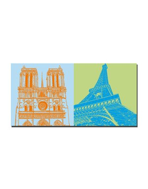ART-DOMINO® BY SABINE WELZ Paris - Notre Dame + Eiffelturm