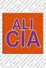 ART-DOMINO® by SABINE WELZ Alicia – Aimant avec le nom Alicia