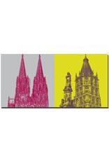 ART-DOMINO® BY SABINE WELZ Köln - Kölner Dom + Rathaus und Jan v. Werth