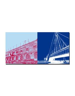 ART-DOMINO® BY SABINE WELZ Köln - Olympiamuseum + Severinsbrücke