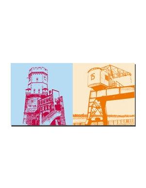 ART-DOMINO® BY SABINE WELZ Köln - Kölsches Bollwerk + Alter Hafenkran