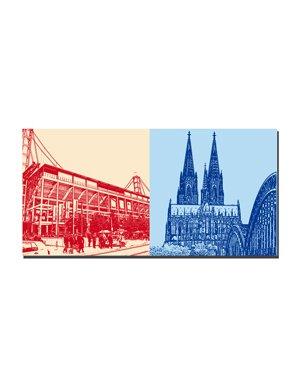 ART-DOMINO® BY SABINE WELZ Köln - Rhein-Energie-Stadion + Kölner Dom