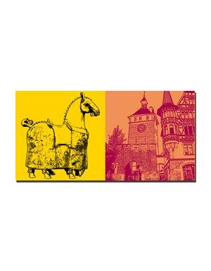 ART-DOMINO® BY SABINE WELZ Konstanz - Kaiserbrunnen-Pferd + Schnetztor
