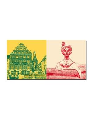 ART-DOMINO® by SABINE WELZ Konstanz - Marktstätte  + Dame v. Kaiserbrunnen