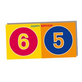 ART-DOMINO® BY SABINE WELZ HAPPY BIRTHDAY - Geburtstagskarte zum 65.