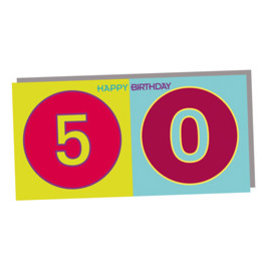 ART-DOMINO® BY SABINE WELZ HAPPY BIRTHDAY FOLDED CARD - 50 YEARS
