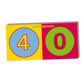 ART-DOMINO® by SABINE WELZ HAPPY BIRTHDAY - Geburtstagskarte zum 40.
