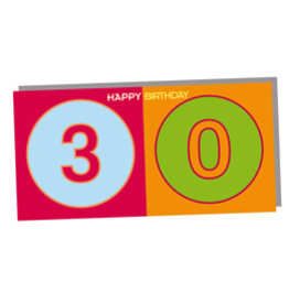ART-DOMINO® BY SABINE WELZ HAPPY BIRTHDAY FOLDED CARD - 30 YEARS