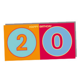 ART-DOMINO® BY SABINE WELZ HAPPY BIRTHDAY FOLDED CARD - 20 YEARS