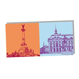 ART-DOMINO® by SABINE WELZ Bordeaux - Monument aux Girondins und Place de la bourse