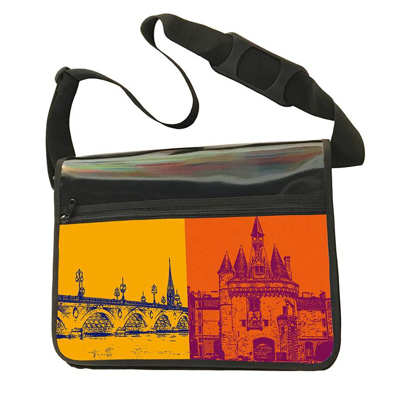 ART-DOMINO® by SABINE WELZ CITY-BAG - Unikat - Nummer 556 mit Bordeaux-Motiven