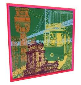 ART-DOMINO® BY SABINE WELZ ACRYLBILD - LISSABON - KOLLAGE 01 - In modernem Acrylglasrahmen