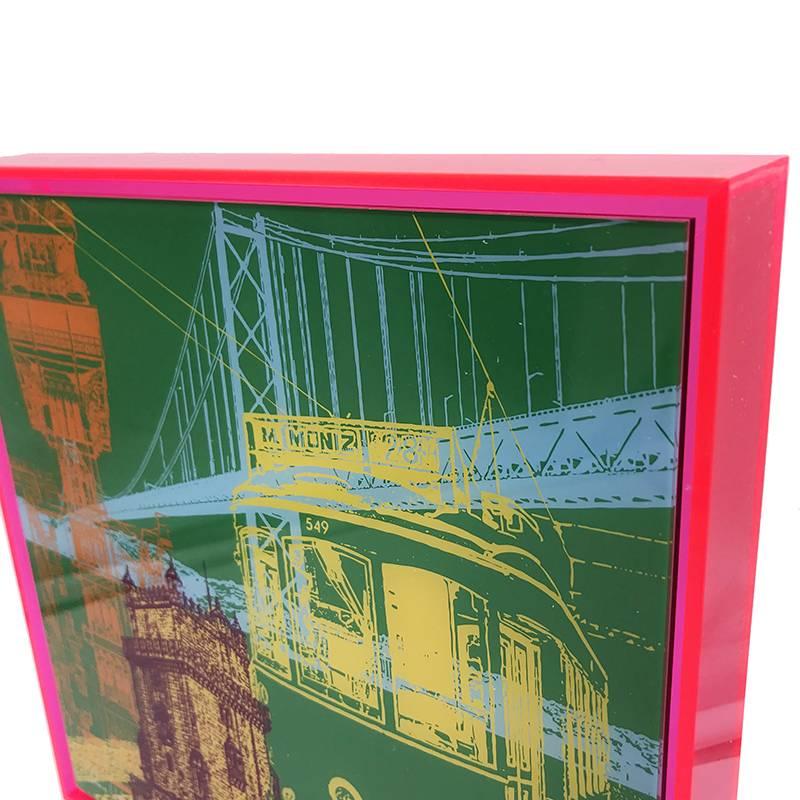 ART-DOMINO® by SABINE WELZ Lissabon - Collage - 01 + Frame