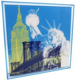 ART-DOMINO® BY SABINE WELZ ACRYLIC PICTURE - NEW YORK - COLLAGE 01 - In modern acrylic frame
