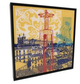 ART-DOMINO® by SABINE WELZ ACRYLBILD - LISSABON - KOLLAGE 02 - In Aluminium-Rahmen