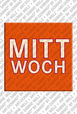 ART-DOMINO® by SABINE WELZ Mittwoch - magnet with the word Mittwoch