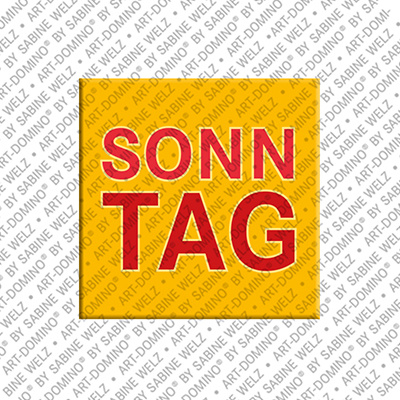 ART-DOMINO® by SABINE WELZ Sonntag - magnet with the word Sonntag