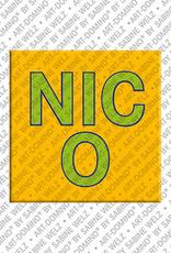 ART-DOMINO® by SABINE WELZ Nico - Magnet mit dem Vornamen Nico