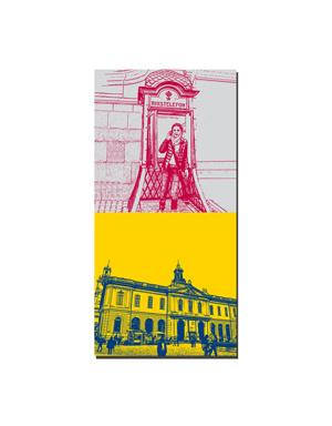 ART-DOMINO® BY SABINE WELZ Stockholm - Rikstelefon-Zelle + Nobelmuseet-altes Börsenhaus
