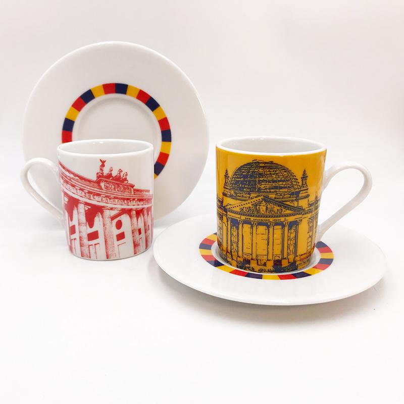 ART-DOMINO® BY SABINE WELZ Berlin Espressotasse 02 - Reichstagskuppel und Brandenburger Tor