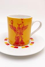 ART-DOMINO® BY SABINE WELZ Berlin Espresso cup 03 - Brandenburger Tor + Goldelse