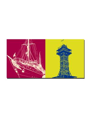 ART-DOMINO® BY SABINE WELZ Kopenhagen - Königliche Yacht  + Zoo-Turm