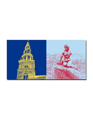 ART-DOMINO® BY SABINE WELZ Kopenhagen - Frelsers Kirche  + Meerjungfrau