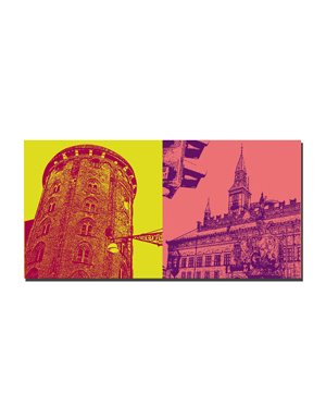 ART-DOMINO® BY SABINE WELZ Kopenhagen - Runder Turm + Rathaus