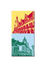 ART-DOMINO® BY SABINE WELZ Leipzig - Neues Rathaus + Nikolaikirche