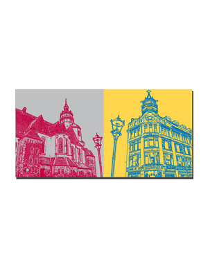 ART-DOMINO® BY SABINE WELZ Leipzig - Nikolaikirche + Riquet Stadtkaffee