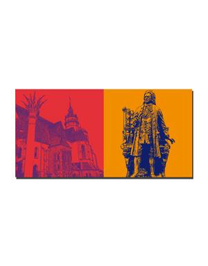 ART-DOMINO® BY SABINE WELZ Leipzig - Nikolaikirche mit Friedenssäule + Bach