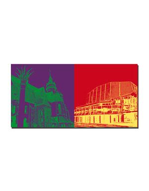 ART-DOMINO® BY SABINE WELZ Leipzig - Nikolaikirche mit Friedenssäule + Gewandhaus