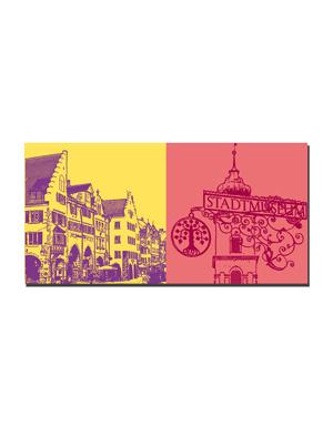ART-DOMINO® BY SABINE WELZ Lindau - Altstadt + Stadtmuseum-Schild