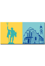 ART-DOMINO® BY SABINE WELZ Lindau - Neptun (-brunnen) + St. Stephan