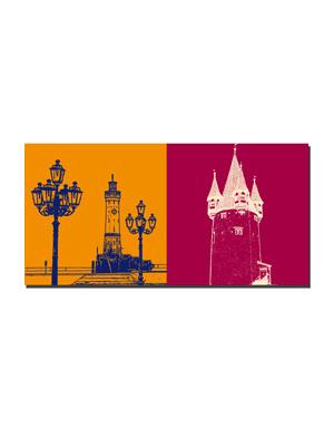 ART-DOMINO® BY SABINE WELZ Lindau - Leuchturm und Kandelaber + Diebsturm