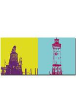 ART-DOMINO® BY SABINE WELZ Lindau - Hafeneinfahrt Löwe + Leuchturm