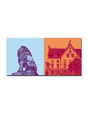 ART-DOMINO® BY SABINE WELZ Lindau - Bayerischer Löwe + Post und Stadtbücherei