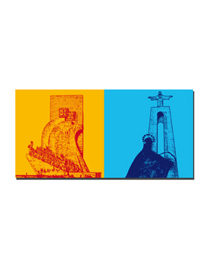 ART-DOMINO® BY SABINE WELZ Lissabon - Entdeckerdenkmal + Christo Rei Statue