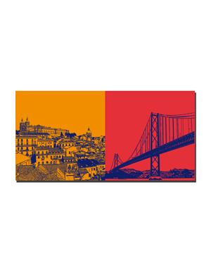 ART-DOMINO® BY SABINE WELZ Lissabon - Blick über Lissabon + Ponte de 25 Abril