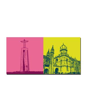 ART-DOMINO® BY SABINE WELZ Lissabon - Christo Rei Statue + Hieronymitenkloster-Mosteiro dos Jerónimos