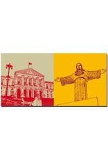 ART-DOMINO® BY SABINE WELZ Lissabon - Palácio de São Bento (Palast v. St. Benedikt-Parlament) + Christo Rei Statue