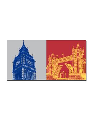 ART-DOMINO® BY SABINE WELZ London - Big Ben + Tower Bridge
