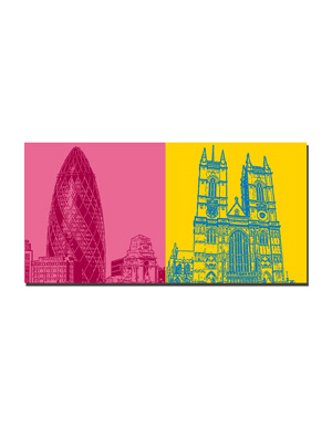 ART-DOMINO® BY SABINE WELZ London - Gherkin Tower + Westminster Abbey