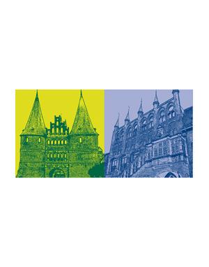 ART-DOMINO® BY SABINE WELZ Lübeck - Holstentor + Rathaus