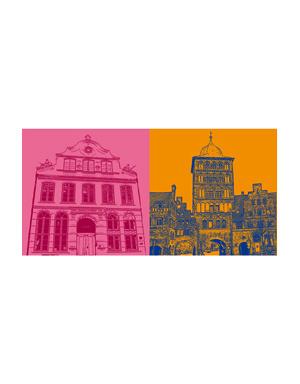 ART-DOMINO® BY SABINE WELZ Lübeck - Buddenbrookhaus + Burgtor