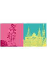 ART-DOMINO® BY SABINE WELZ Lübeck - Figur Puppenbrunnen + Holstentor und St. Petri