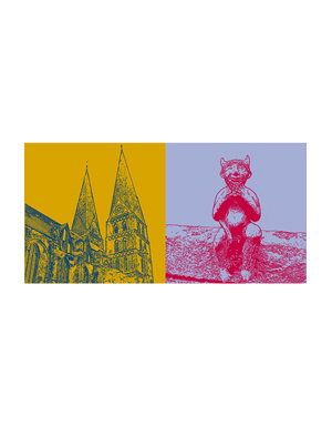 ART-DOMINO® BY SABINE WELZ Lübeck - St. Marien + Teufelchen-Figur