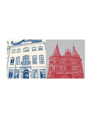 ART-DOMINO® BY SABINE WELZ Lübeck - Willy Brandt Haus + Holstentor