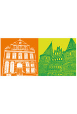 ART-DOMINO® BY SABINE WELZ Lübeck - Buddenbrookhaus + Holstentor