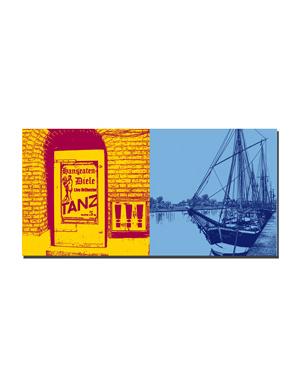 ART-DOMINO® BY SABINE WELZ Lübeck - Hanseaten-Diele + Schiffe